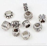 100pcs / lot Flower Dots Spacer Charms Beads Tibétain Argent Perle Fit European Bracelet Loose Beads Jewelry DIY