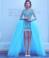 Wholesale Perfect Blue Homecoming Dress - Perfect Short Sequins Prom Dress Long Sleeve Detachable Skirt Tulle Ball Gowns Applique Lace 2018 cheap Party Homecoming Graduation dresses