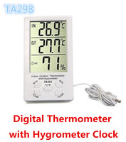 Wholesale free room thermometer for sale - Group buy KTJ TA298 TA Indoor Outdoor Digital LCD Thermometer with Hygrometer humidometer Clock white color