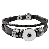 Wholesale Stainless Steel Chains Diy - P00650 Hot wholesale Snap Button Bracelets Newest Design Fashion NOOSA chunks Leather Bracelets Fit 18mm Noosa Chunk DIY Rivca Snaps Jewelry