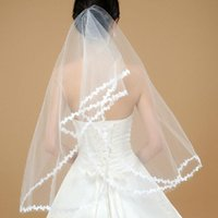 Wholesale Top Wedding Veils - 2018 New The Chpest Veil Hot Sale Beautiful Simple Cheapest Tulle Top Fashion 100% Real Photo Wedding Veil