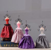 Wholesale Wholesale Doll Mannequin Jewelry Stand - New Dot Dress Lady Doll 5 color choose Jewellery Stand Earrings Necklace Display Organizer Holder Fashion Jewelry Rack