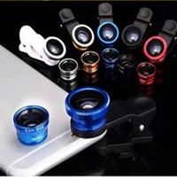 Wholesale Glaxy Phone - New 3 in 1 Metal Clip Fisheye Lens Universal Wide Angle Micro Lens for Cell Phone 5s 6plus Samsung Glaxy s6 Etc