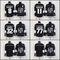 2018 New Los Angeles Kings Hockey Jerseys 11 Anze Kopitar 8 Drew Doughty 32 Jonathan Quick 77 Jeff Carter Jersey negro cosido en blanco