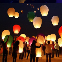 Wholesale Sky Balloon Free Shipping - Different color Sky Lanterns Wishing Lantern fire balloon Chinese Kongming lantern Wishing Lamp for BI free shipping -0002CHR