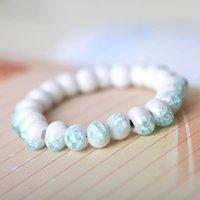 keramik kristall perlen großhandel-11 farben Brennen Keramik Armbänder Hohe qualität Glas kristall runde kleine keramik perlen armband weibliche Zubehör Einstellbare Schmuck