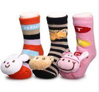 Wholesale Boys Slipper Socks New - 12Pair lot Free Shipping 2015 New Cartoon Baby boys girls Shoes Baby Girl Boy Striped Anti-slip bell Socks sock Slipper Shoes Boots