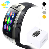 Wholesale italian messages - For Iphone 6 7 8 X Bluetooth Smart Watch Q18 Mini Camera For Android iPhone Samsung Smart Phones GSM SIM Card Touch Screen