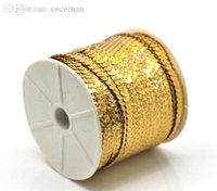Wholesale-1 rotolo (100 yards) Oro tono 6 millimetri AB colori Paillettes Trim