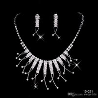 Wholesale Women Bridal Sets - 2017 Cheap 15021 Sale Holy Rhinestone Crystal Flower Earring Necklace Set Bridal Party Lobster Clasp Cheap Jewel Sets for Prom Evening Women