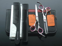 Wholesale Screw Hair Combs - hair tesoura 5.5 INCH or 6 INCH Hair scissors set hair cutting scissors LYREBIRD Gem screw pink ring+combs+disposable haircutting cape NEW