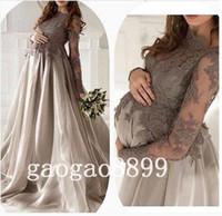 Wholesale Classic Women Jackets - New Arrival Gray Silver Lace Organza Long Sleeve Evening Dresses maternity For Pregnant Women Custom Make Elegant Dubai Arabic Dresses Prom