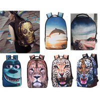 15Inch 3D Animal Prints Mochila Laptop Bag Mujeres / Mochilas Teen School School Bolsa