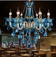 avize ışıkları mavi toptan satış-İtalya mavi cafe ışık cilalar yemek odası çok renkli Modern kristal Avize led Ev Aydınlatma KTV Restoran Bar Lambaları Lampadario