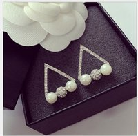 Wholesale Triangle Nail Stud - 10pc High quality Anti allergic Simulated Diamond Pearl 925 Sterling silver Triangle Crystal Ball Pearl stud Earrings Elegant Ear Nail Women