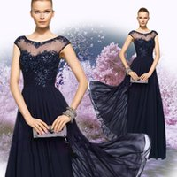 Wholesale Evening Fold - Sparkle Evening Dresses Custom Made Chiffon Fold scoop Beaded Sequins A Line Floor Length Chiffon Net Tulle hollow pageant dresses 5337
