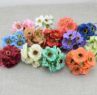 blumenschmuck kirsche großhandel-Großhandels- 6pcs / lot simulation künstliche kirschblüte Künstliche Blume Hochzeit Auto Dekoration Brautstrauß handgemachte Seide Blume