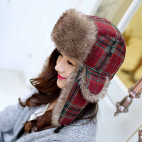Wholesale Russian Ushanka Fur Hat - 4 color Plaid Trapper Hats Ushanka Russian Hat Fur Winter Hats sports snow outdoor aviator ear flaps cap for Women Bomber Hats001