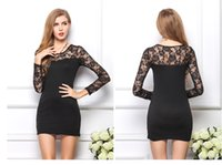 Wholesale Wholesale Price Sexy Dress - Lowest Price Sexy Women Black Lace Dress Long Sleeves Slim Floral Bodycon Party Cocktail White Lace Dresses Tunic V Neck Mini Dress P1383
