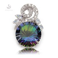 Wholesale Rainbow Vintage Charm - New Arrivals Noble Generous R708-B Rainbow stone and White Cubic Zirconia Recommend Silver Plated Vintage Pendants Favourite