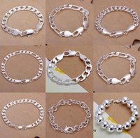 Wholesale Sterling Silver Curb Bracelets - Figaro Chains 9pcs lot Promotion! Multi Styles Of Fashion Bracelet Men's\Boys' 925 Sterling Silver Jewelry Curb