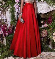Wholesale Long Modest Skirt Xl - Red Modest Spring Skirt Long Satin A Line High Waist With Zipper Back Floor Length Bust Skirt Modest Homecoming Dress Party Gown