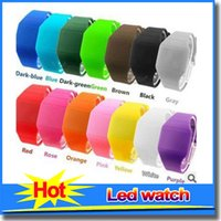 Wholesale Screen Color Squares - Luxury 12 Color Luminous Colorful Soft Led Touch Watch Jelly Candy Silicone Digital Feeling Screen Watches Fashion Watch