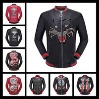 Wholesale Cool Faux Fur Coats - 2017 New Men's Outerwear Coats Luxury Leather jacket With Skull Print Famous Brand Winter Mens CoatNew Cool Design Red Faux Leather Fashion