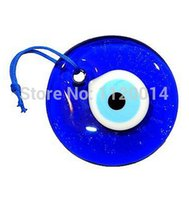 Wholesale Turkish Glasses - Wholesale-30mm Lucky Evil Eye Nazar Boncuk Turkish Greek Glass Hanging Good Luck Charms Pendant Protection Religion Jewelry Gift 30pcs