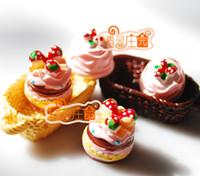 Wholesale Strawberry Furniture - Wholesale-free shipping Doll house dollhouse furniture bjd diy strawberry cake basket