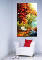 Wholesale Canvas Oil Painting Landscape Forest - Palette Knife Oil Painting Beautiful Park Scenery Forest Alley Landscape Picture Printed on Canvas for Bedroom Living Room Home Decoration