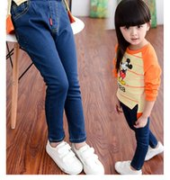 Wholesale Han Clothing Wholesale Jeans - Children's clothing han edition fall 2015 new elastic pencil pants baby girls cultivate one's morality leisure feet jeans trousers BH1194