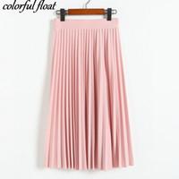 Wholesale Pink Department - Wholesale- 2017 Crinkle Chiffon skirts spring Elastic waist fold slim skirt pleated Department summer slim skirt pink gray black