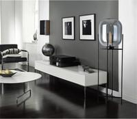 barra de piso al por mayor-Lámpara de pie de cristal de estilo nórdico Luces de piso de melón retro Luces de lámparas de mesa de diseño de moda Luces para sala de estar / Casa de campo / Bar