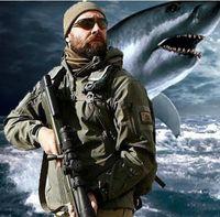 softshell-hai großhandel-TAD Stealth Shark Haut Wasserdicht Militär Im Freien Jacke Männer Sport Softshell Wanderung Jagd Tactical Camouflage Armee Hoodie Jacken Sets