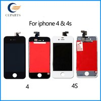Wholesale Iphone 4s Digitizer Frame - High quality LCD Display for iphone 4 4s Touch Digitizer Complete Screen with Frame Assembly Replacement for iPhone 4 4s With DHL Shipping