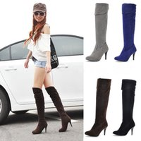 Wholesale Stiletto Heel Fur Boots - New Hot Fashion Women's Synthetic Leather High Heel Shoes Over Knee Boots US Size 4-10.5 B006