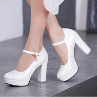 zapatos de tacón grueso de marfil al por mayor-Las mujeres de marfil blanco bombas de tacón alto para mujer plataforma de tobillo boda nupcial zapatos rosa tacones altos zapatos de las mujeres de gran tamaño de alta, size34-43