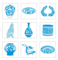 blue cake frosting - Classical Chinese Blue Porcelain Pattern Candy Cake Frosting Transfer Chocolate Sheet Mold