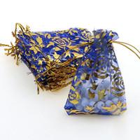 Wholesale Coffee Organza Bags - 7x9cm Blue Rose Bronzing Organza Jewelry Popular Packaging Bags Coffee Beans Bags Small Packaging Bags 500pcs lot Wholesale