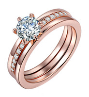 Mulheres Prong Channel Set AAA Cubic Zircon Casamento de noivado Rose Gold Plated Ring Promise Alloy Band