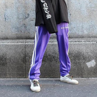 Wholesale Elastic Ankle Length Trousers Legging - Palm Angels Pants Fashion Brand Ankle-Zip Pants Lovers Hip Hop Streetwear Straight Leg Casual Trousers Men Vintage Track Pants PXG1025