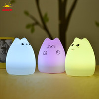 Atacado-Oobest USB Recharge Slap Button Switch Light Colorido Cat Silicone LED Night Lamp Vogue Kids Cute Night Lamp Quarto Light
