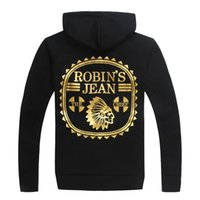 Wholesale Gilt Buttons - 2017 mens ROBIN Hip hop Street gilt printing ROBINS Hoodies Men'S Fashion Brand Robin Hooded Cardigan Coat Foil Stamping Korean Slim Influx