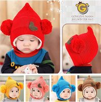 Wholesale Mikey Mouse Baby - Lovely Mikey Mouse Baby knitted hat girls boys Earflap beanie winter toddler kids boy girl warm crochet caps children's Gifts
