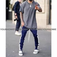 Wholesale Men S Fashion Rings - Fear Of God Pants Long Deawstring Patchwork Zipper Ring Men Women Justin Biber Style Free Shipping
