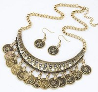 Wholesale Cheap Coin Jewelry - Wholesale-Cheap Price Fashion Collier Femme Coins Bohemian Pendant Colar Statement Necklaces and Earrings Jewelry