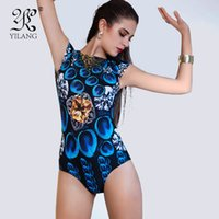 Wholesale Peacock Swimwear - Wholesale- Queen Elasticity Short Sleeves One-piece Bathing Suit Hot Printed 3D High Waist Swimwear Blue Peacock Feathers Push Up Swimsuit