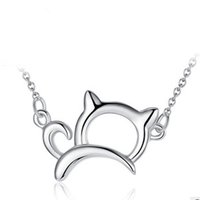 Wholesale Cute Cat Jewelry - Orsa Jewelry New Arrival Cute & Lucky 925 Sterling Silver Cat Necklaces and Pendants Necklace Jewelry PN05