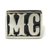 Wholesale Top Mens Gifts Wholesale - Mens Silver 316L Stainless Steel MC Biker Ring Mens Top Quality Biker Mens Ring Wholesale 4pcs lot